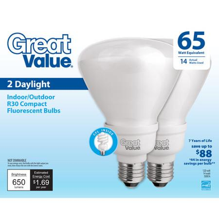 Great Value Light Bulb 14W 65W Equivalent R30 CFL Daylight 2 Pack